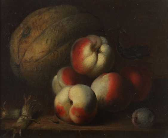 """Silent painter of the 19th century life./20. Century - """"fruit still life with peaches and pumpkin"""" - photo 1"""