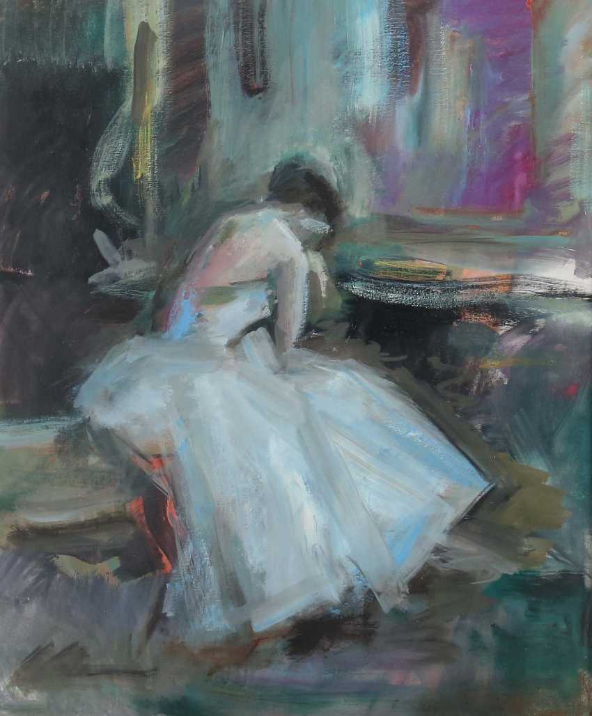 """Painters of the 20th century. Century """"ballet dancer at the shoes lace"""" - photo 1"""