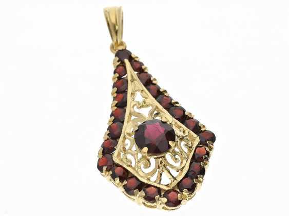 Pendant: beautiful garnet pendant, vintage handmade in 18K Gold - photo 1