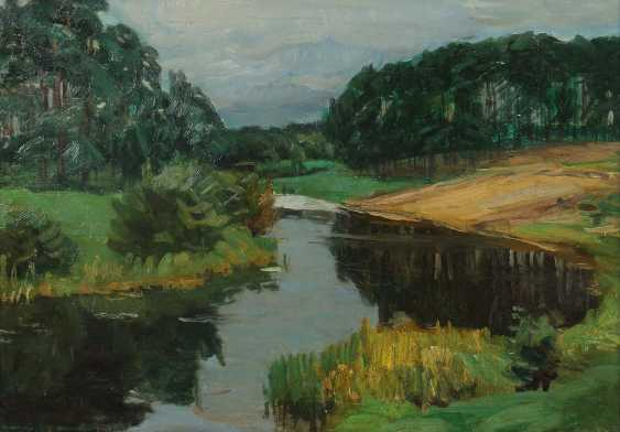 "Landscape painter of the 20th century. Century, ""Idyllic River Landscape"" - photo 1"