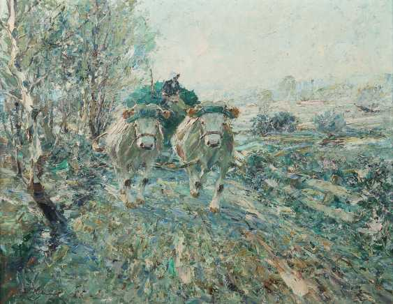 "Painters of the 20th century. Century ""ox-cart"" in a green landscape, on a path driving - photo 1"