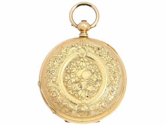 Taschenuhr: Damen-Prunksavonnette, um 1870, Ducommun-Sandoz & Cie. La Chaux-de-Fonds, 18K Gold - photo 2