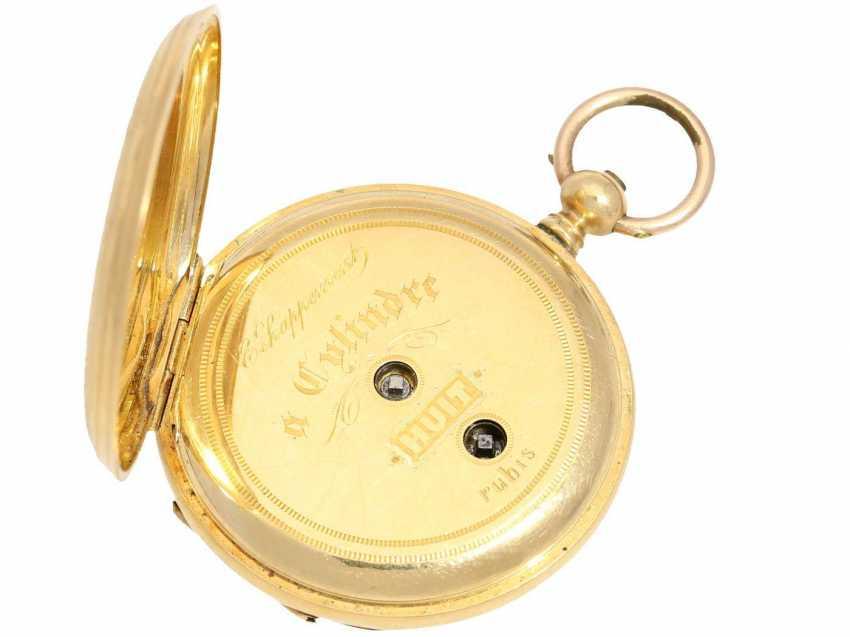 Taschenuhr: Damen-Prunksavonnette, um 1870, Ducommun-Sandoz & Cie. La Chaux-de-Fonds, 18K Gold - photo 4