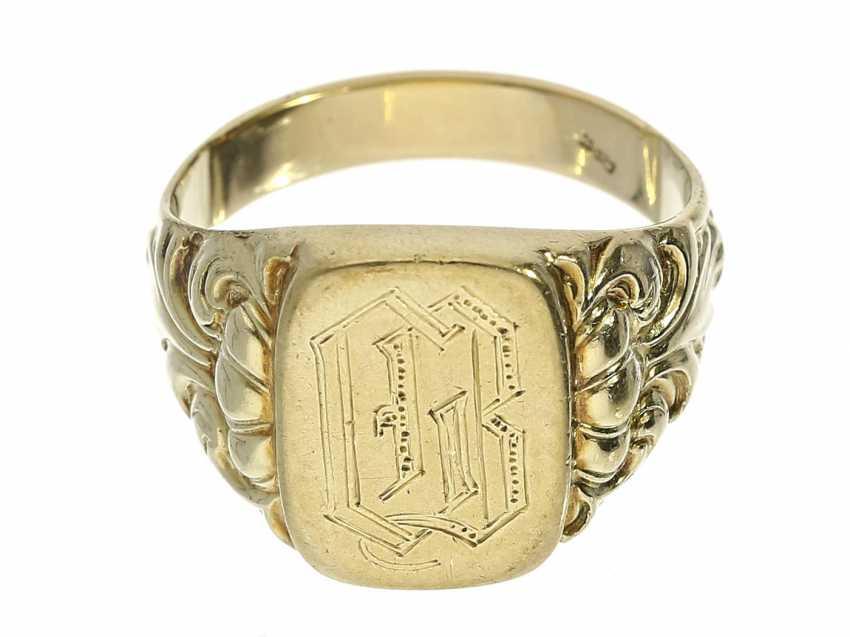Ring: classic, antique mens signet ring, 14K Gold - photo 1