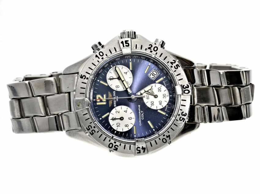 Wristwatch: sportive gentlemen's watch Breitling Colt Chronograph, stainless steel, reference A53035, with original box, from the 90s - photo 1