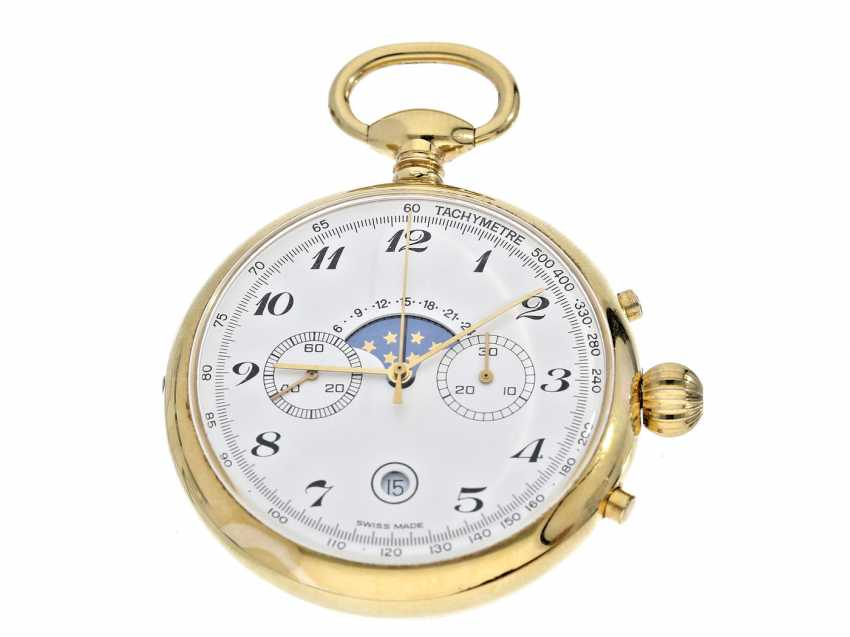 Pocket watch: complicated pocket watch with Chronograph, date and moon-phase, Switzerland, around 1960 - photo 1