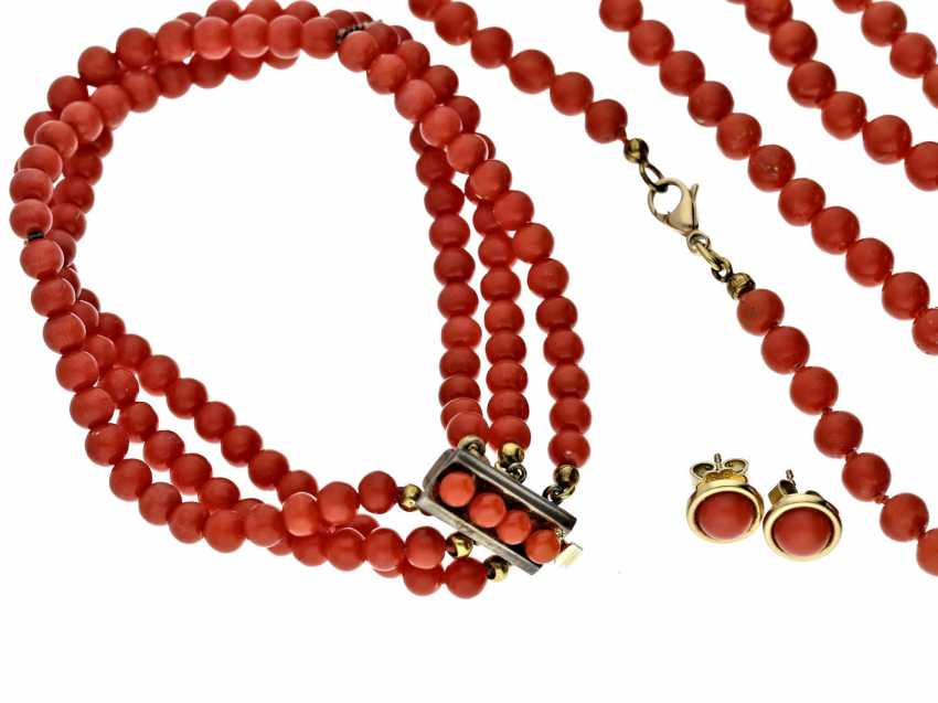 Necklace/bracelet/earrings: vintage/antique coral jewelry Set - photo 1