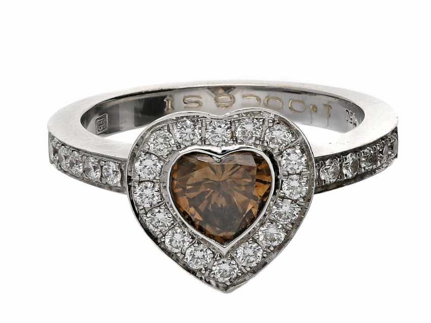 Ring: high-quality, formerly very expensive gold wrought ring with diamond heart, surrounded by fine diamonds, 18K white gold - photo 1