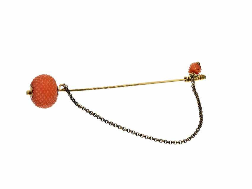 Tie-pin: a rare and highly attractive antique tie pin with coral - photo 1