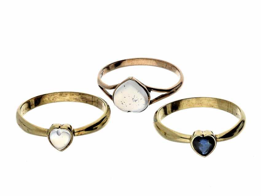 Ring: 3 Golden ladies rings, unworn vintage jewellery from goldsmiths-estate - photo 1