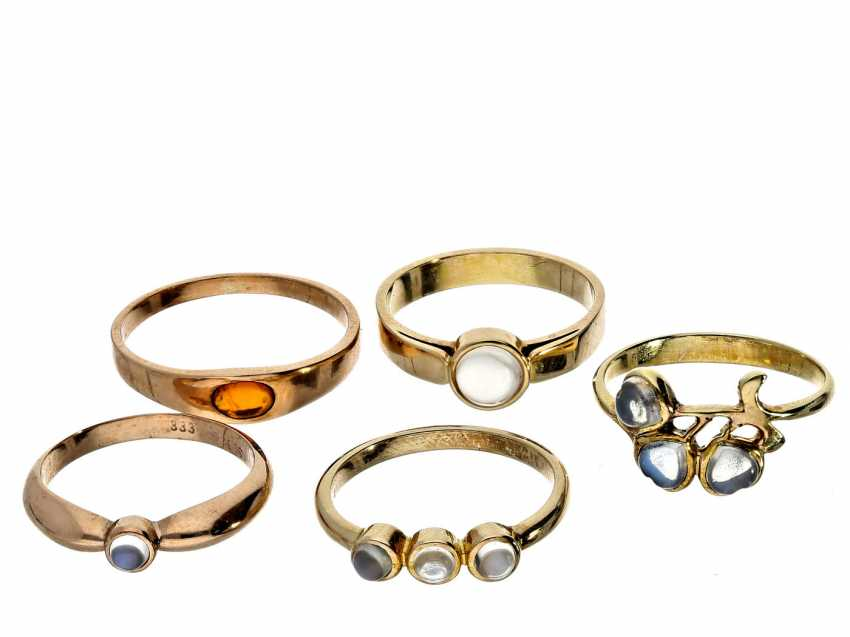 Ring: a small collection of ladies rings, 8K/14K Gold, unworn vintage jewellery from goldsmiths-estate - photo 1