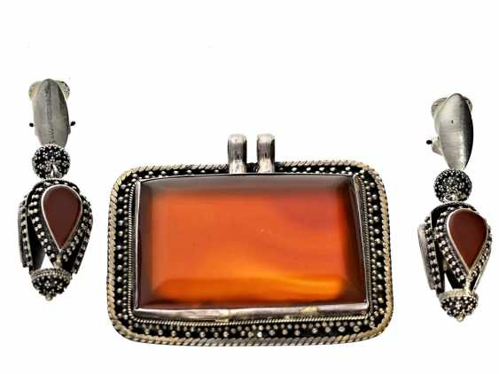Earrings/pendant: large and exceptional carnelian pendant with matching earrings - photo 1