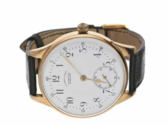 Wrist watch: high quality watch is with a A. Lange & Söhne pocket watch movement from 1926, 14K rose gold - photo 1