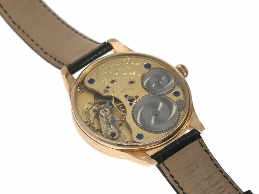 Wrist watch: high quality watch is with a A. Lange & Söhne pocket watch movement from 1926, 14K rose gold - photo 2