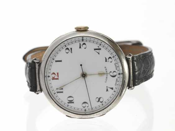Watch: early and very rare Longines wrist watch with enamel dial and Central seconds, 30-years - photo 1