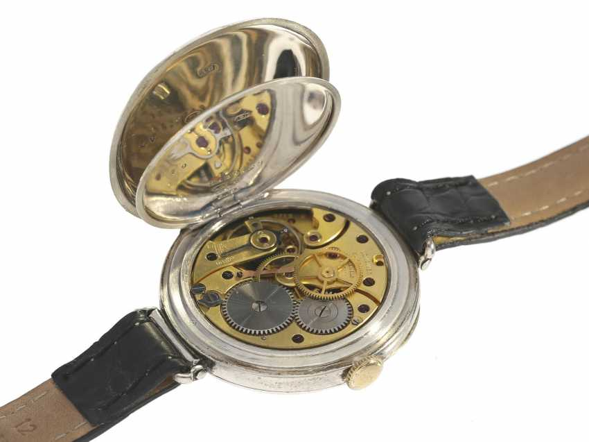 Watch: early and very rare Longines wrist watch with enamel dial and Central seconds, 30-years - photo 2