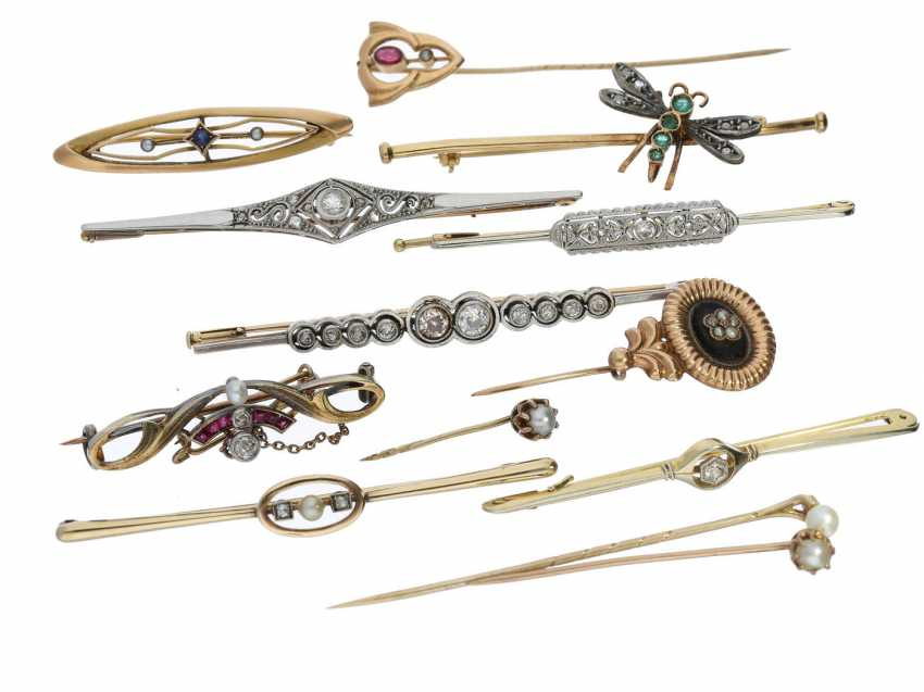 Brooch/tie pin: very interesting collection of 13 antique brooches/tie-pins from the art Nouveau period and Art Deco, 14/18K Gold - photo 1