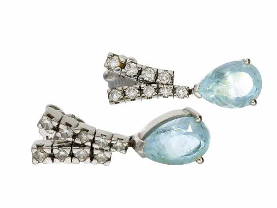 Earrings: white gold, very decorative and unusual vintage aquamarine/Brillant-Ohrstecker - photo 1