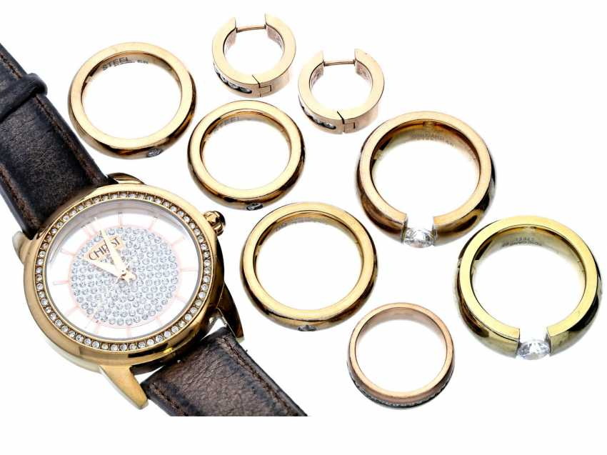 Wrist watch/Ring/earrings: vintage design jewelry, including a jewelry watch of Christian - photo 1