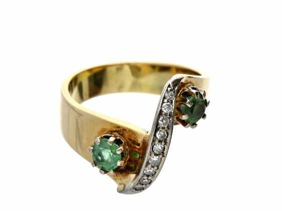 Ring: tourmaline/diamond ring, vintage, fancy gold work - photo 1