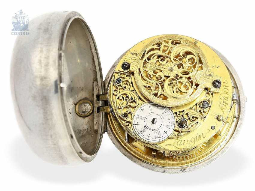 Pocket watch: English paircase verge watch with date, signed Langin London, ca. 1740 - photo 5