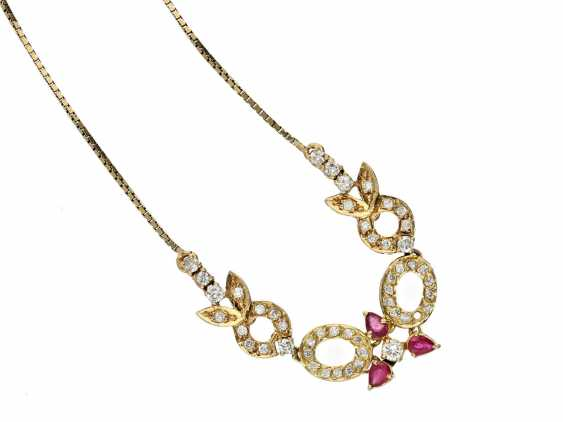 Chain/necklace: formerly very expensive ruby/brilliant necklace, vintage - photo 1