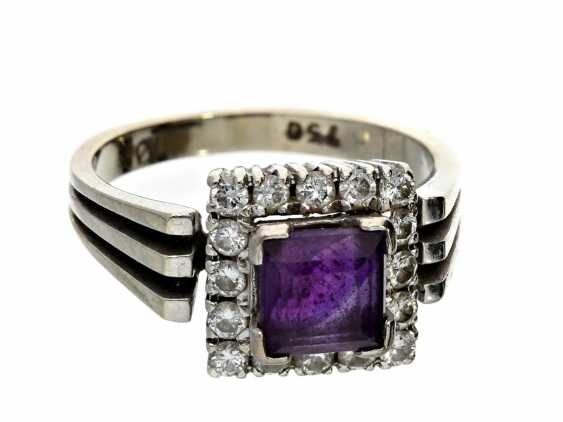 Ring: vintage gold wrought ring with Amethyst and diamonds, CA. 1950 - photo 1