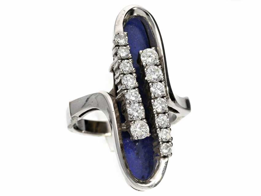 Ring: very attractive and exceptional Designer-goldsmith's ring with lapis lazuli and diamonds - photo 1