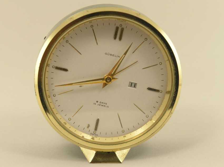 Table clock/alarm clock: 8-day watch with date and alarm clock, Gübelin 60s - photo 1