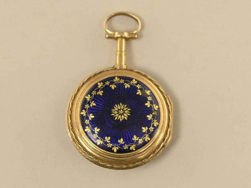 Pocket watch: fine Gold/enamel Spindeluhr, Le Roy, Paris, No. 749, around 1780 - photo 1