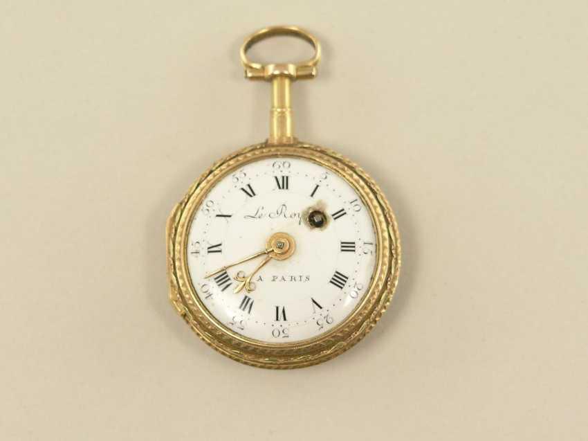 Pocket watch: fine Gold/enamel Spindeluhr, Le Roy, Paris, No. 749, around 1780 - photo 2