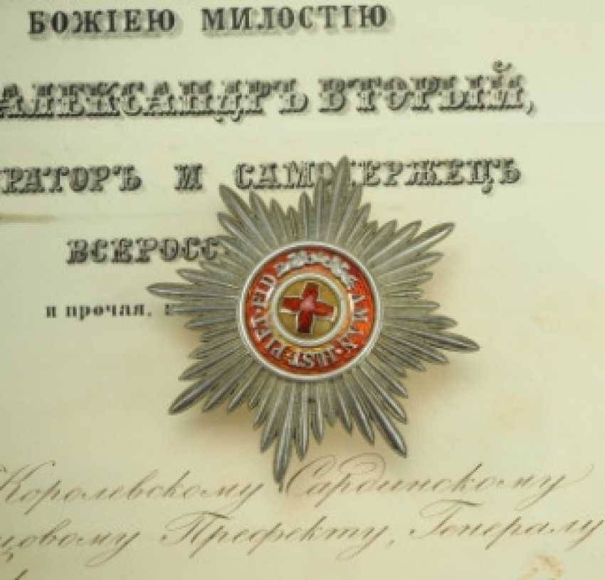 Russia: order of the hl. Anna, 2. Model (1810-1917), 1. Class star, with certificate of the Royal Sardinian Palace-Prefäkten General Salasko