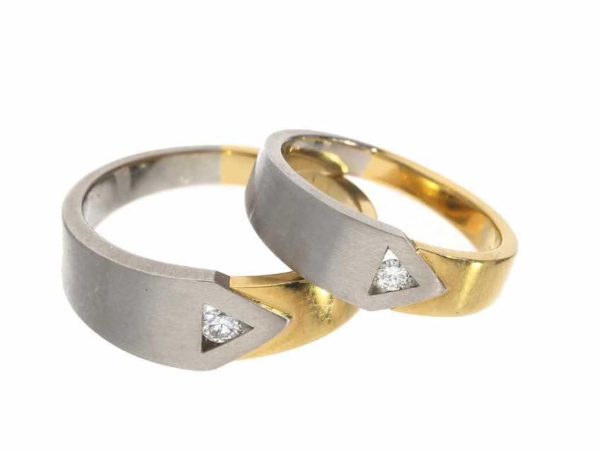 Ring: very beautiful and like-new Bicolor wedding rings with diamond trimming, NP 1550,-€ - photo 1