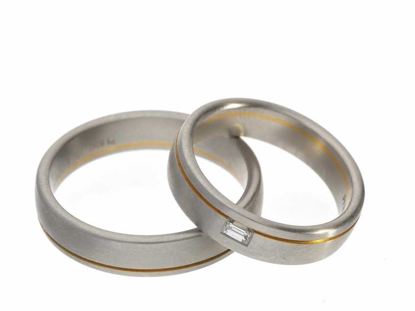 Ring: elegant, extremely high quality wedding rings made of platinum with fine Gold-applications and diamond, NP 4250,-€ - photo 1