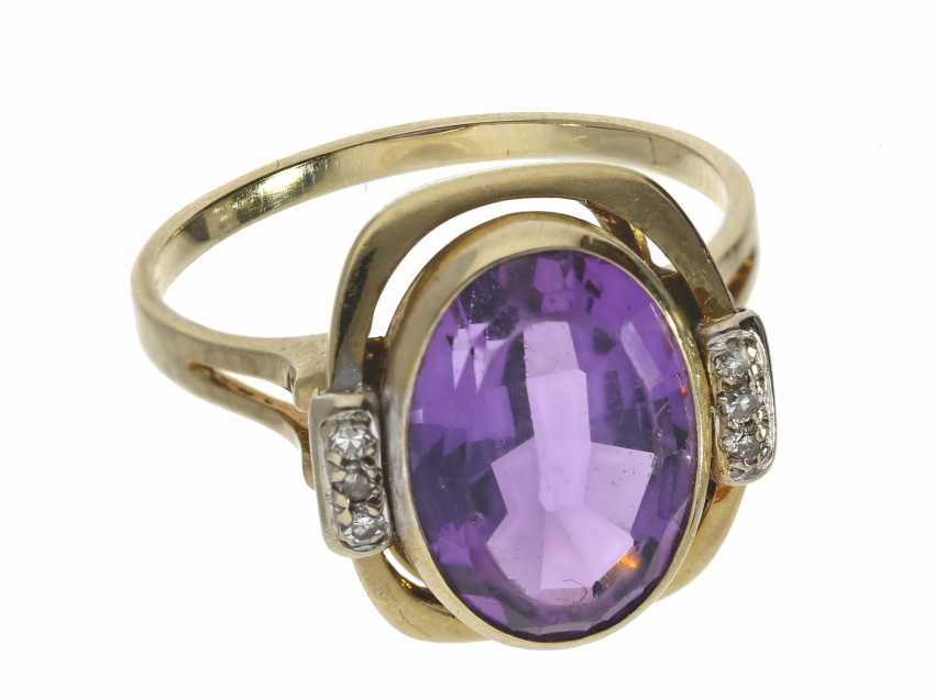 Ring: vintage gold wrought ring with Amethyst and diamonds, hand work, around 1960 - photo 1