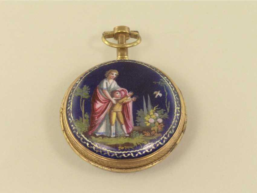 Spindeluhr: great French Spindeluhr with enamel painting, signed Berthoud, around 1800 - photo 1