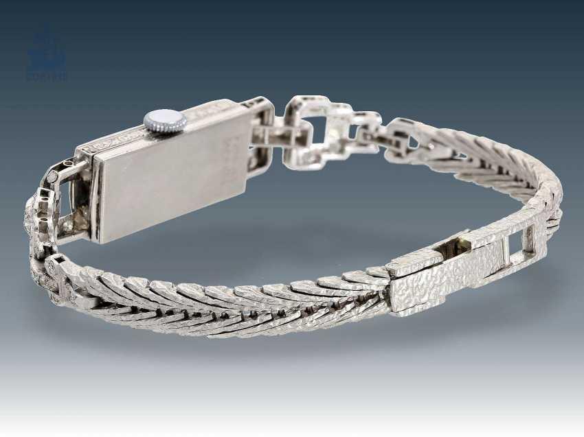 Wrist watch: Art Deco ladies watch with diamond setting, platinum/white gold - photo 2