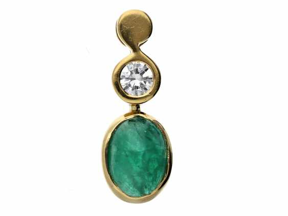 Trailer: modern, high-quality emerald/brilliant-gold forged pendant - photo 1