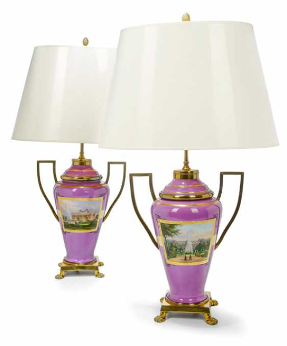 Pair of porcelain lid vases as table lamps - photo 1