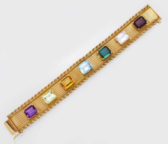 Gold bracelet with Color stones - photo 1