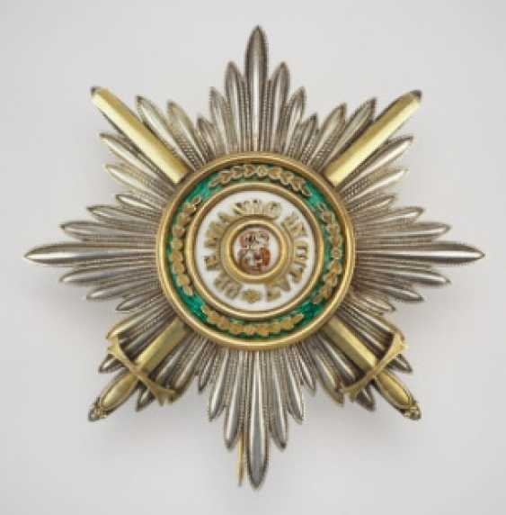 Russia: Imperial and Royal order of Saint Stanislaus, 2. Model, 2. Type (approx. 1841-1917), breast star of the 1. Class with swords