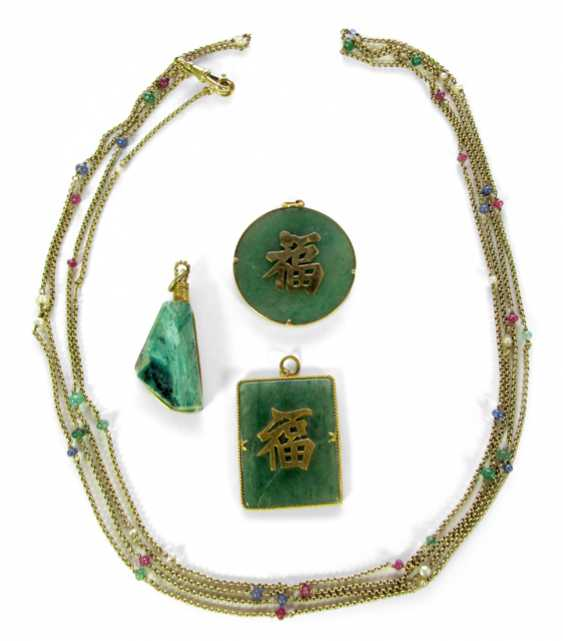 SAUTOIR WITH KL.STONES, 2 JADE - photo 1