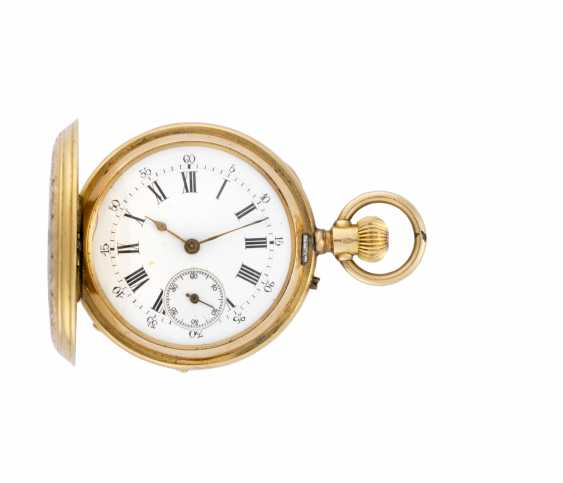 PATEK & Co: Orologio da tasca in oro 18K decorato con miniatura bucolica in smalti policromi, savonnette - photo 1