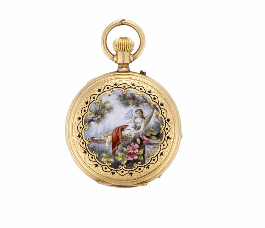 PATEK & Co: Orologio da tasca in oro 18K decorato con miniatura bucolica in smalti policromi, savonnette - photo 2