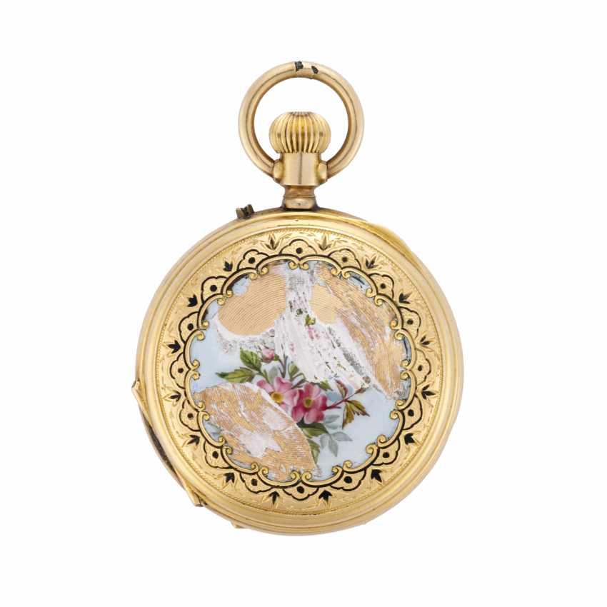PATEK & Co: Orologio da tasca in oro 18K decorato con miniatura bucolica in smalti policromi, savonnette - photo 3