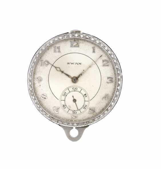 SWAN: Orologio da tasca in platino con ghiera in diamanti e smalto nero - photo 1