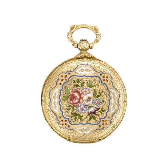 BAUTTE A GENEVE: Orologio da tasca in oro 18K e smalti policromi floreali - photo 2