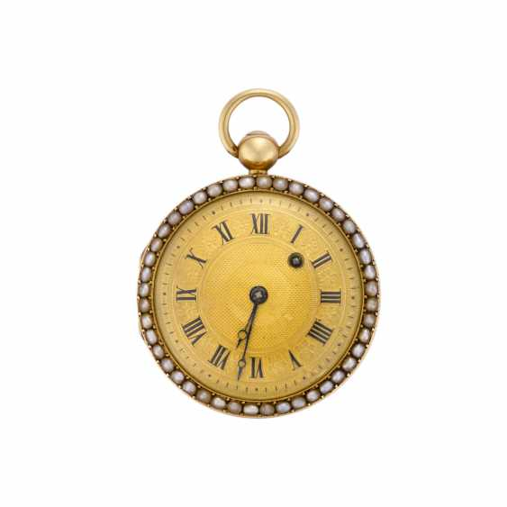 ANONYMOUS: the pocket Watch in 18K gold with beaded and enamel blue and green - photo 1