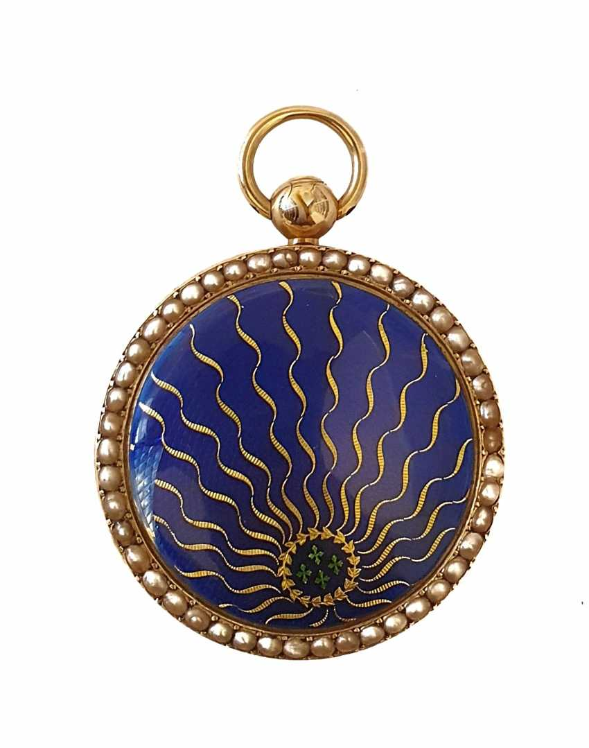 ANONYMOUS: the pocket Watch in 18K gold with beaded and enamel blue and green - photo 2