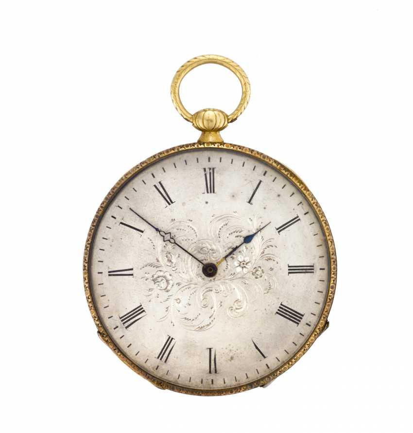 ANONIMO: Orologio da tasca in oro 18K con decoro in smalti - photo 1